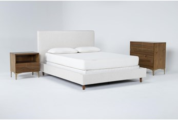 Dean Sand 3 Piece Queen Upholstered Bedroom Set With Talbert Bachelors Chest + 1 Drawer Nightstand