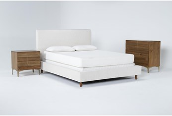 Dean Sand 3 Piece Queen Upholstered Bedroom Set With Talbert Bachelors Chest + 2 Drawer Nightstand