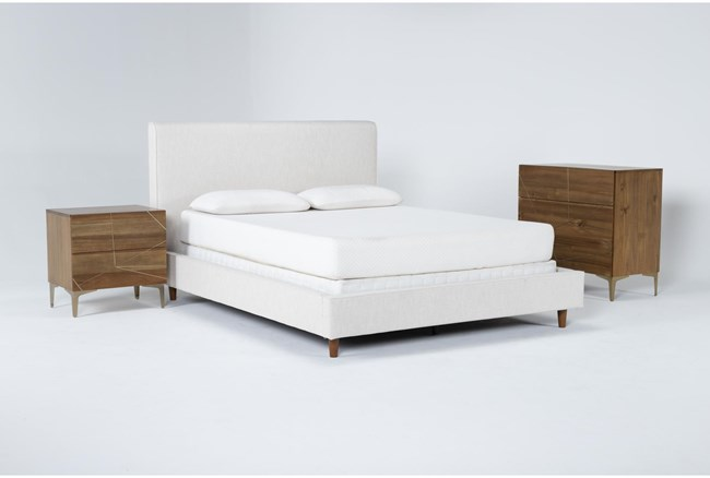 Dean Sand 3 Piece Queen Upholstered Bedroom Set With Talbert Bachelors Chest + 2 Drawer Nightstand - 360