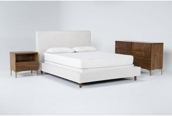 Dean Sand 3 Piece Queen Upholstered Bedroom Set With Talbert Dresser + 1 Drawer Nightstand
