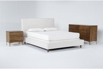 Dean Sand 3 Piece Queen Upholstered Bedroom Set With Talbert Dresser + 2 Drawer Nightstand