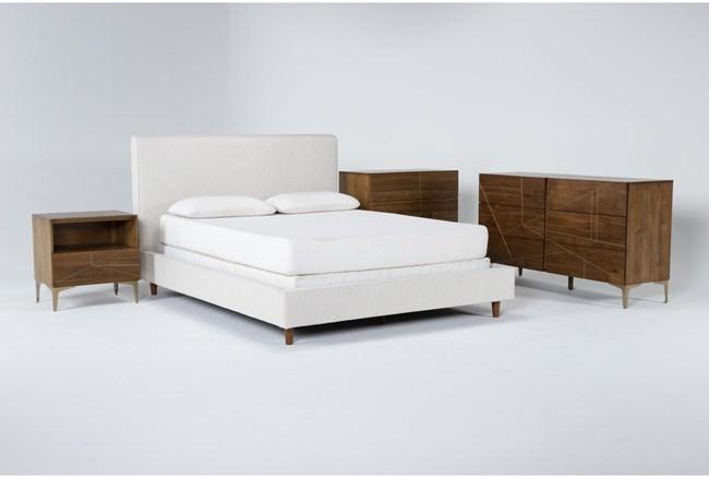 Dean Sand 4 Piece Queen Upholstered Bedroom Set With Talbert Dresser, Bachelors Chest + 1 Drawer Nightstand - 360