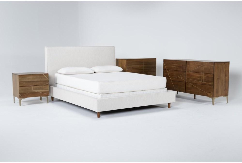 Dean Sand 4 Piece Queen Upholstered Bedroom Set With Talbert Dresser, Bachelors Chest + 2 Drawer Nightstand
