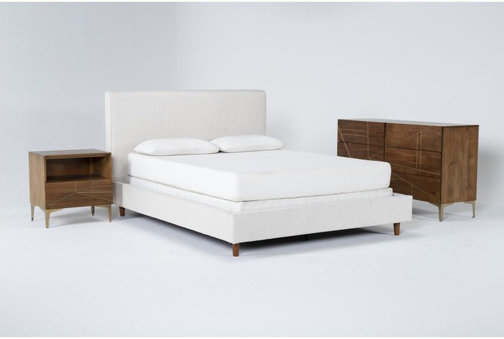 Dean Sand 3 Piece Eastern King Upholstered Bedroom Set With Talbert Dresser + 1 Drawer Nightstand