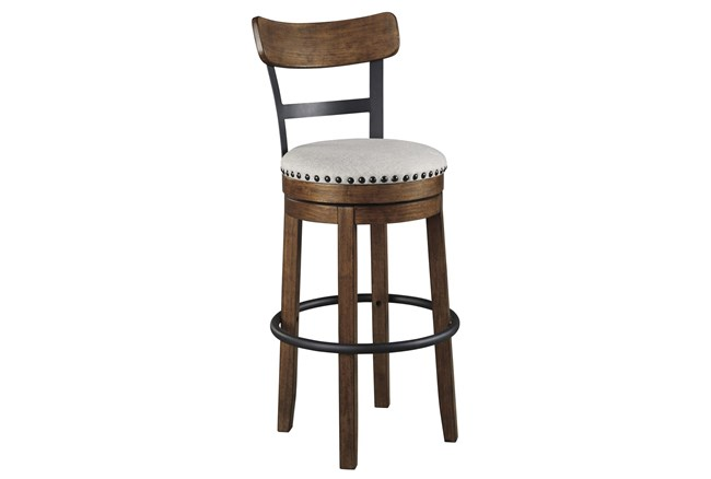 Emerson Brown Upholstered Swivel 30 Inch Bar Stool - 360