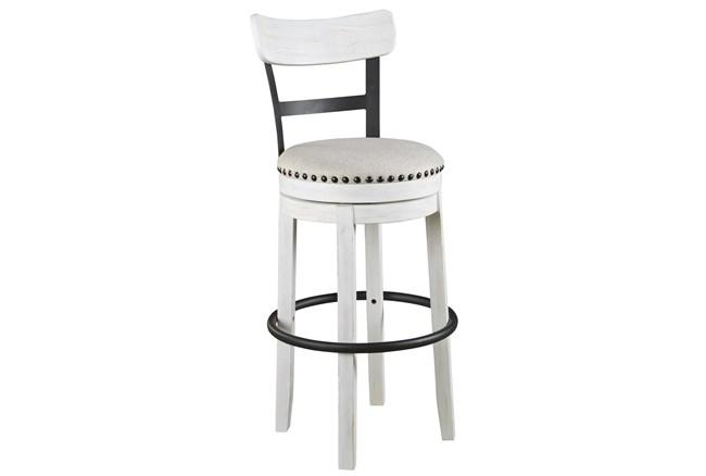 Emerson White Upholstered Swivel 30 Inch Bar Stool - 360