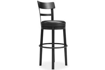 Emerson Black Upholstered Swivel 30 Inch Bar Stool