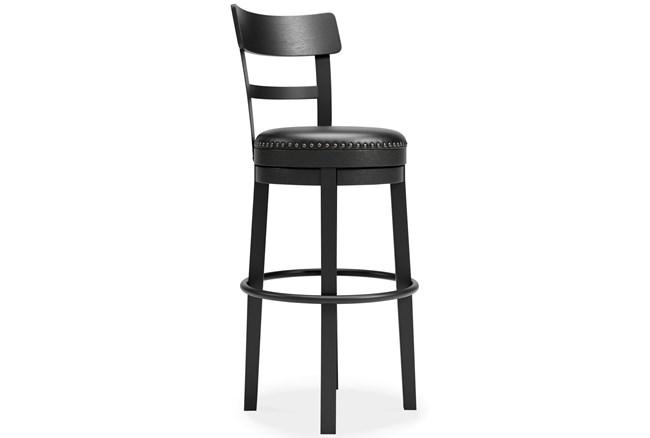 Emerson Black Upholstered Swivel 30 Inch Bar Stool - 360