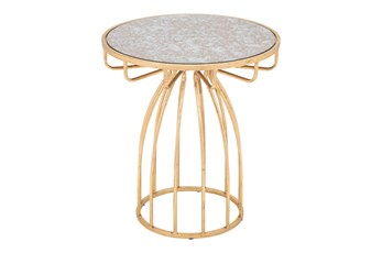 Mirror & Gold Accent Table