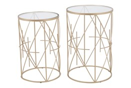 Gold & Clear Side Tables Set Of 2