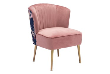 Pink Velvet And Foliage Print Accent Chair