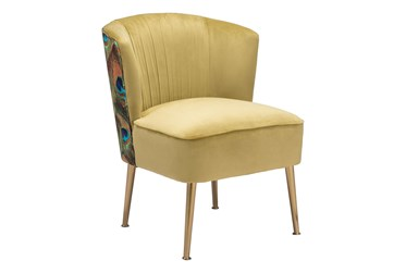 Gold Velvet And Peacock Print Accent Chair