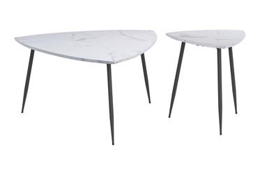 White & Black Three Leg Accent Table Set Of 2