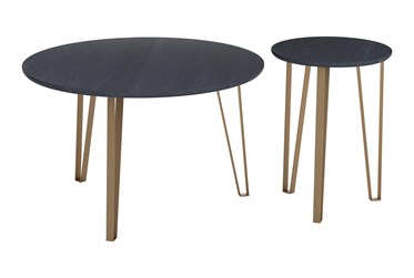 Black & Gold Round Accent Table Set Of 2