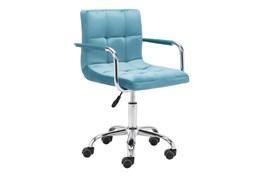 Blue Velvet With Steel Arm Desk Chair