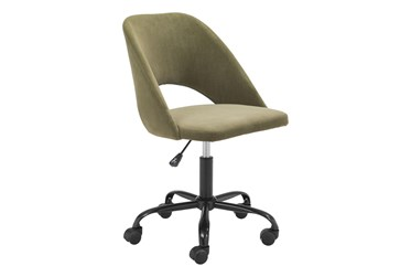 Olive Curved Back Rolling Office Chair