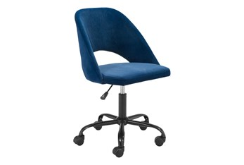 Navy Curved Back Keyhole  Desk Chair