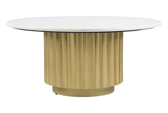 Marble With Gold Base Round Coffee Table