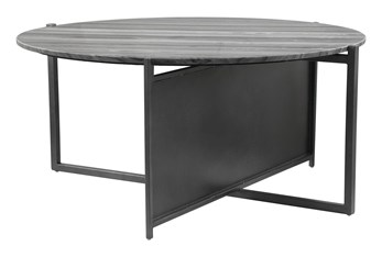 Geometric Marble Top With Steel Base Coffee Table