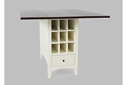 Kennedy White Two Tone Drop Leaf Counter Table With Storage
