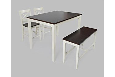 Kennedy White Two Tone 4 Piece Counter Set With X Back Counter Stools And Bench