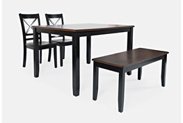 Kennedy Black Two Tone 4 Piece Dining Set With X Back Chairs And Bench