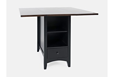 Kennedy Black Two Tone Drop Leaf Counter Table With Storage