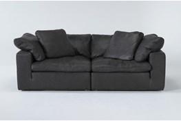 "Hidden Cove Grey 89"" Leather 2 Piece Sofa"