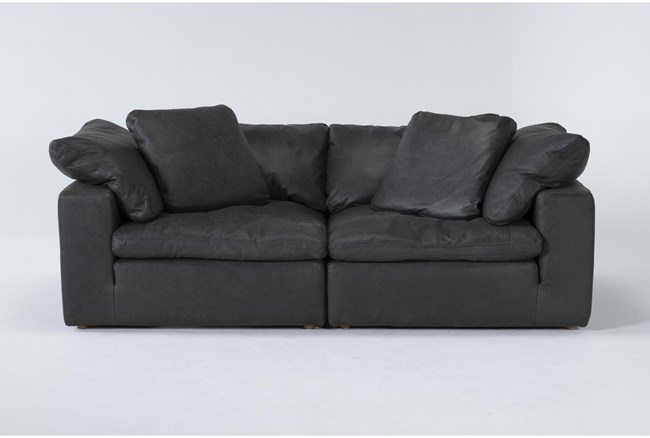 "Hidden Cove Grey 89"" Leather 2 Piece Sofa - 360"