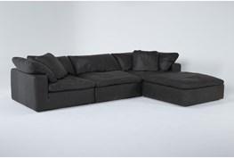 "Hidden Cove Grey 134"" Leather 3 Piece Sofa With Ottoman"