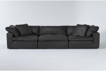 "Hidden Cove Grey 134"" Leather 3 Piece Sofa"