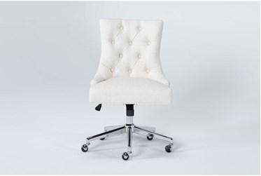 Amber Linen Tufted Desk Chair