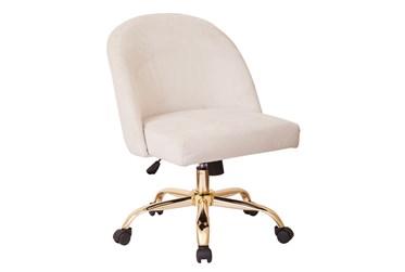 Cher Cream Velvet Desk Chair With Gold Base