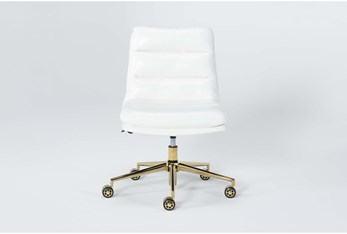Dionne White Vegan Leather Channeled Desk Chair With Gold Base