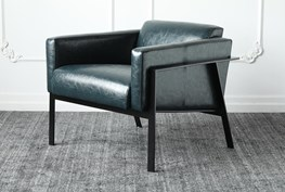 Blue Faux Leather Accent Chair