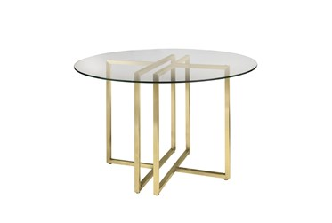 Revis Matte Brushed Gold 42 Inch Round Dining Table With Clear Glass Top