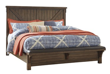 Lake Queen Panel Bed With Upholstered Bench