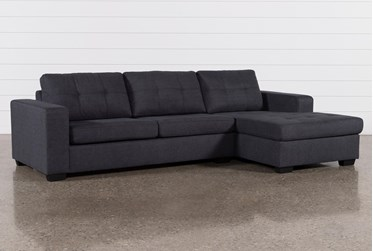 """Remington Charcoal 119"""" 2 Piece Sleeper Sectional With Right Arm Facing Storage Chaise"""
