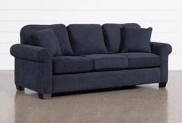 "Margot Denim 81"" Full Sleeper Sofa With Memory Foam Mattress"
