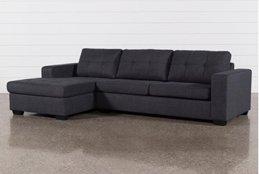 """Remington Charcoal 119"""" 2 Piece Sleeper Sectional With Left Arm Facing Storage Chaise"""