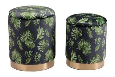 Green Palm Print Storage Ottoman Set Of 2