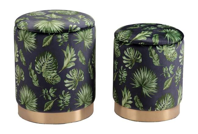Green Palm Print Storage Ottoman Set Of 2  - 360