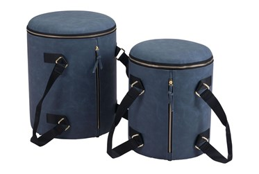 Blue Storage Ottoman Set Of 2 With Carrying Straps