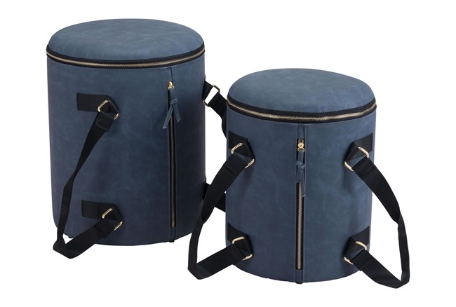 Blue Storage Ottoman Set Of 2 With Carrying Straps  - 360