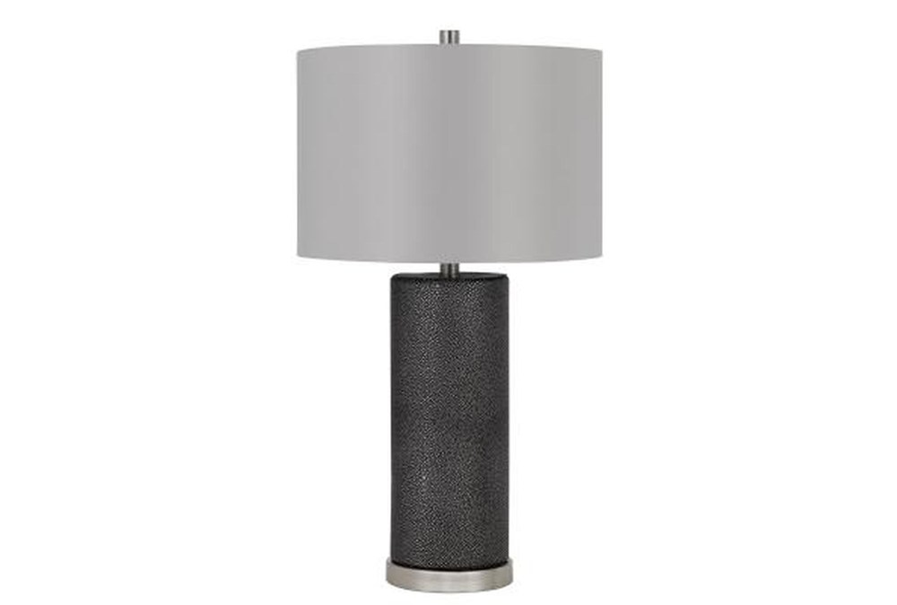 27 Inch Black Faux Shagreen Column Table Lamp With Grey Drum Shade