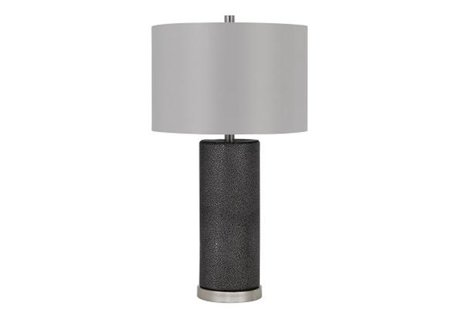 27 Inch Black Faux Shagreen Column Table Lamp With Grey Drum Shade - 360