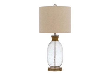 26 Inch Clear Bubbled Glass + Rope Wrap Table Lamp With 3 Way Bulb