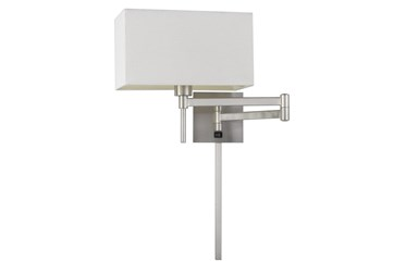 12 Inch Brushed Silver Steel Rectangular Swing Arm Reading Wall Lamp With Wire Cover