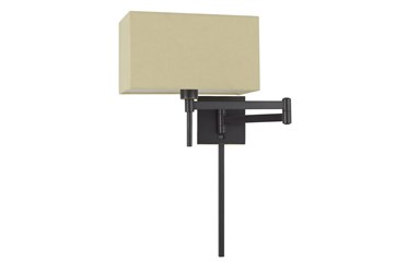 12 Inch Dark Bronze Rectangular Swing Arm Reading Wall Lamp With Wire Cover