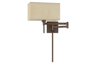 12 Inch Rust Finish Rectangular Swing Arm Reading Wall Lamp With Wire Cover